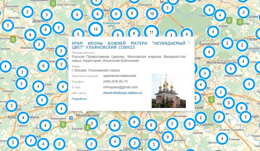 Информационная карточка на карте Прихода.ру